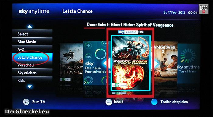Falsche Programmanzeige bei SKY | Screenshot: DerGloeckel.eu