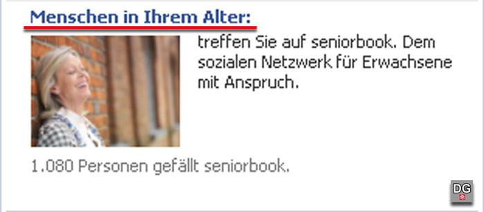 Seniorbook mit fragwürdiger Werbu7ng auf Facebook | Screenshot: DerGloeckel.eu