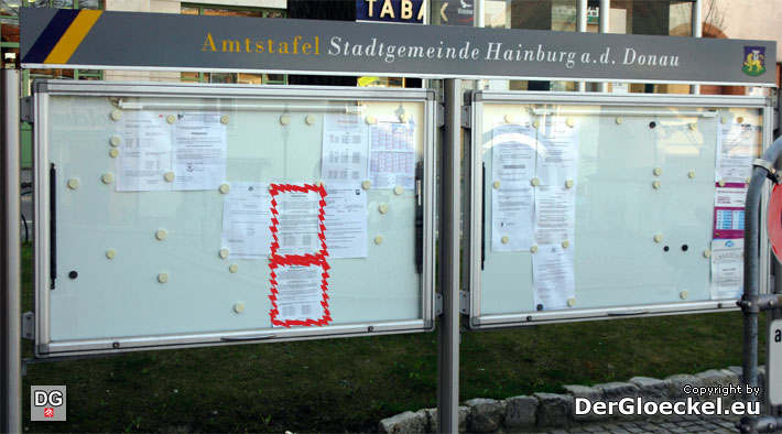 Amtstafel am Hauptplatz von Hainburg/D. | Foto: DerGloeckel.eu