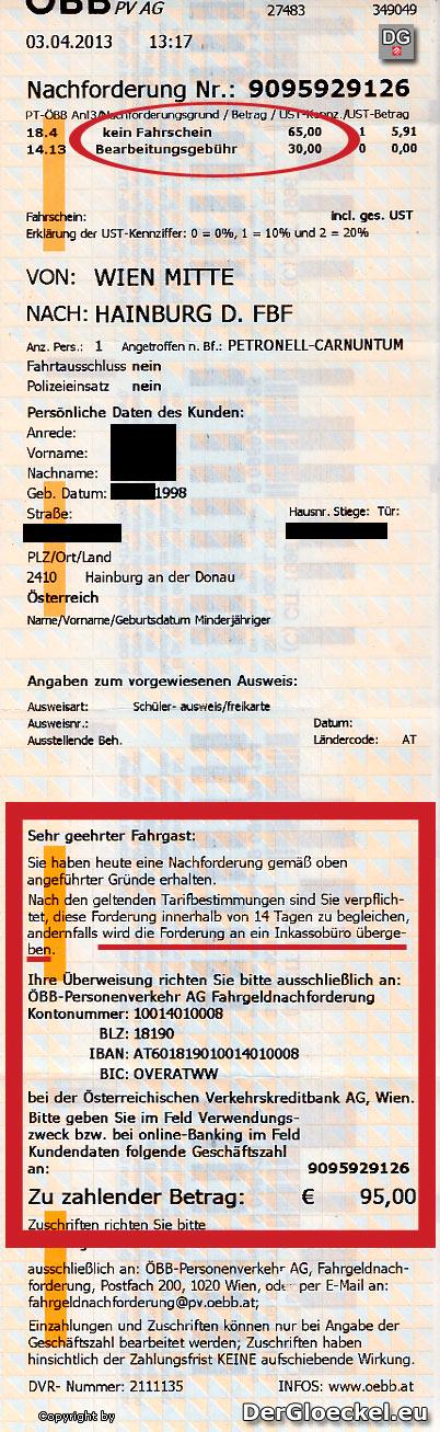 Der Strafbeleg der ÖBB | Faksimile: DerGloeckel.eu