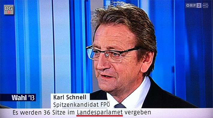 Wie beim ORF das Wort Parlament geschrieben wird