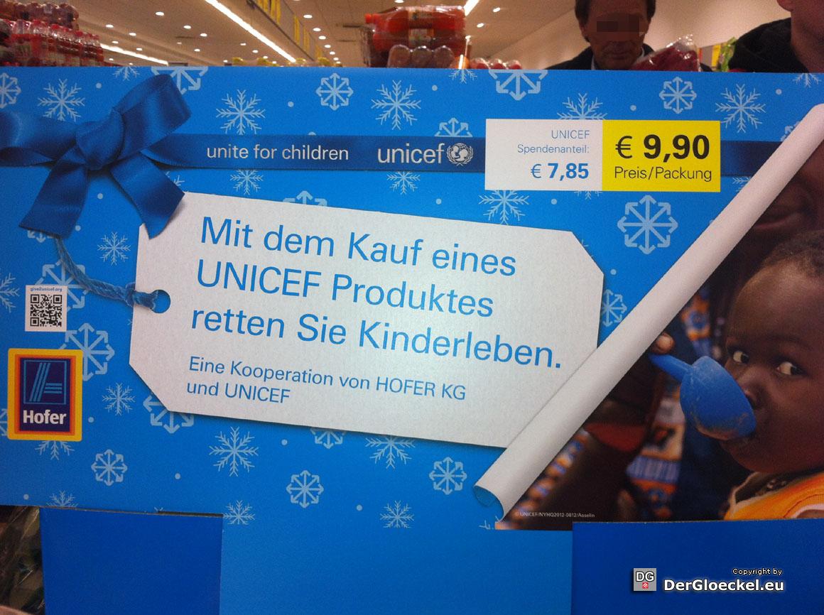 Hofer und UNICEF und wenn Sie es nicht kaufen, müssen Kinder sterben