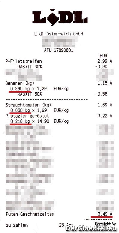 LIDL Rechnung | Faksimile: DerGloeckel.eu